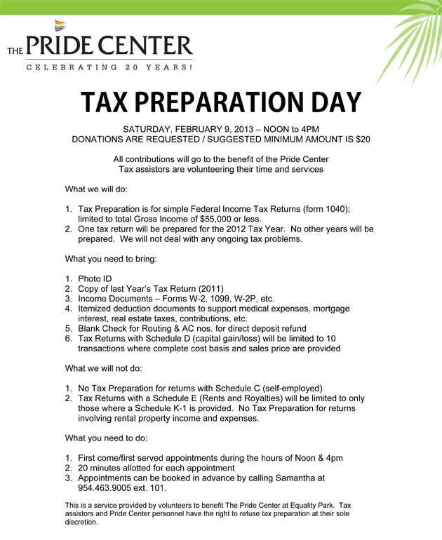 Tax Preparation Day at The Pride Center